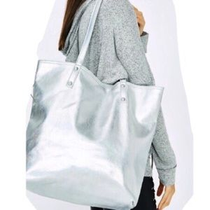 Handbags - Silver hologram oversized tote